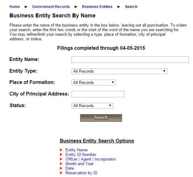 Alabama Business Entity Search