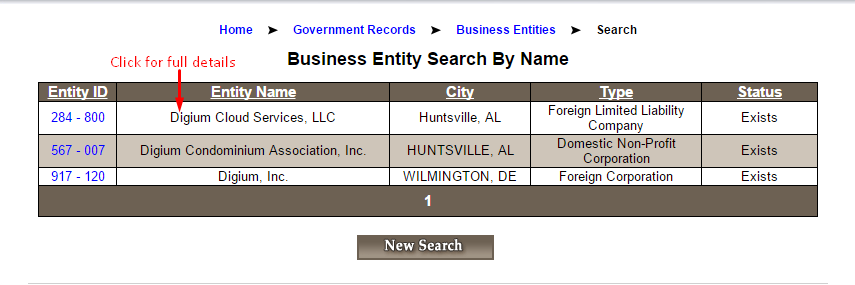 Alabama Business SOS Search Result List