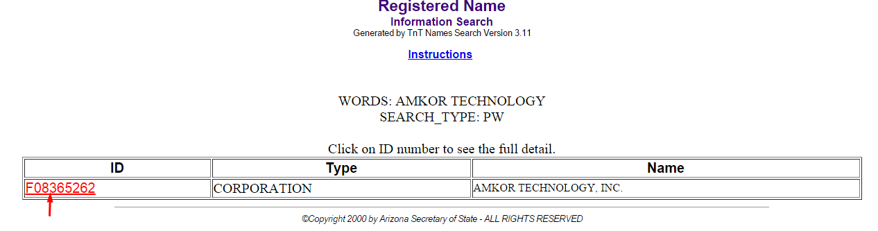 Arizona Corporation Entity Search Details List