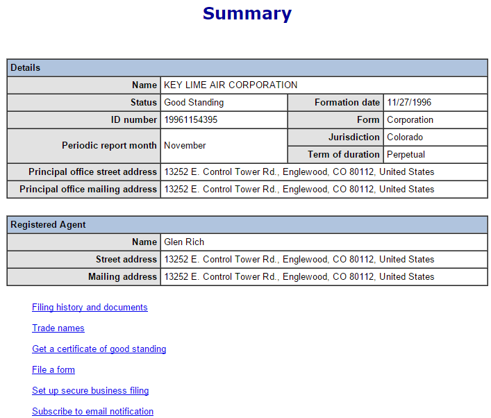 Colorado SOS Result page For Lime Air Corporation