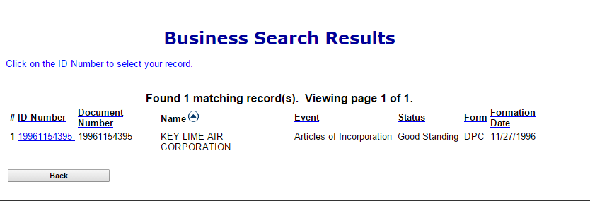 Colorado SOS search result details