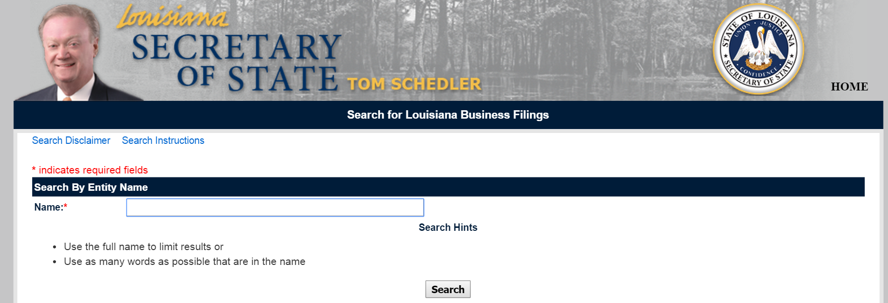 Louisiana SOS search