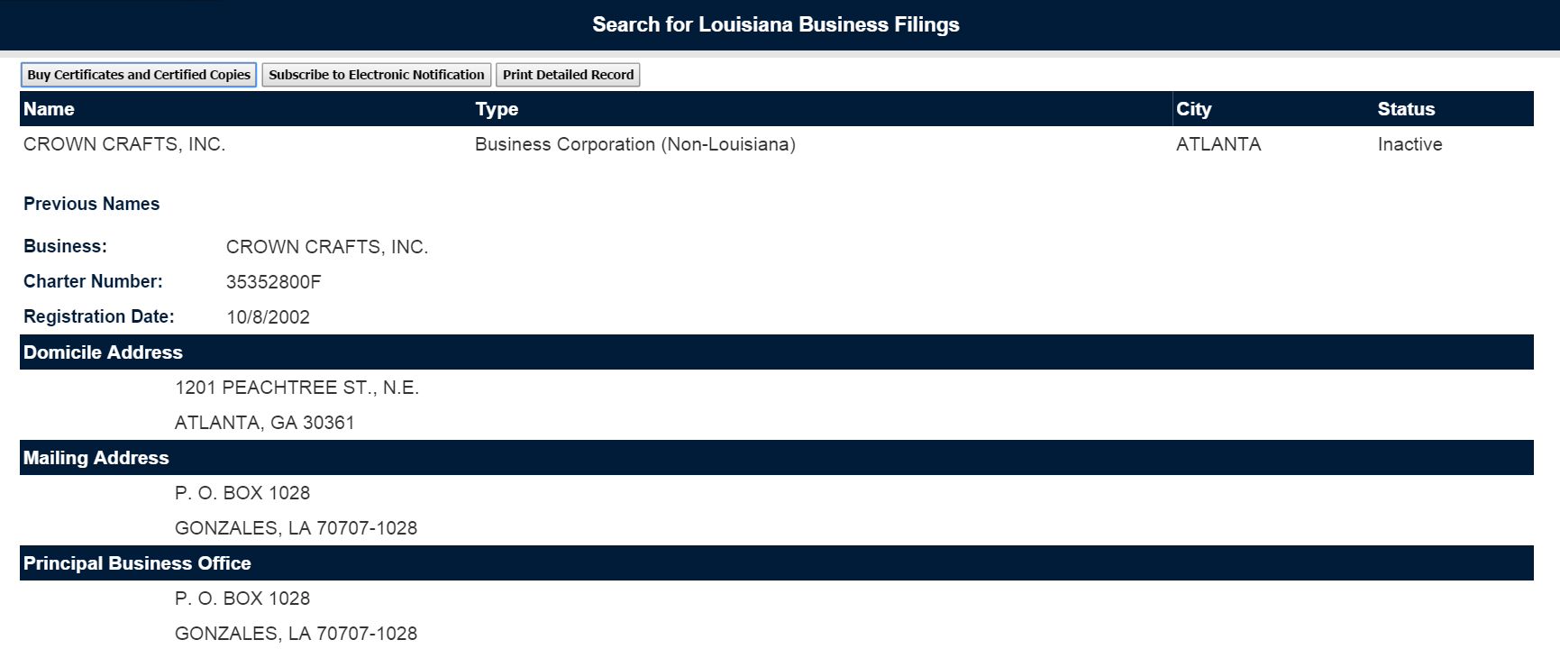 Louisiana corporation information