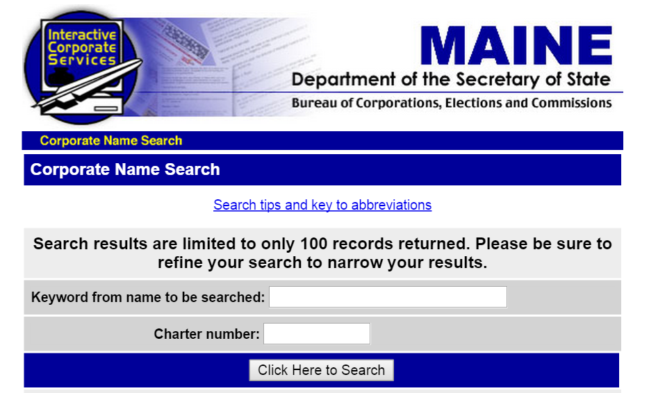 How to do a Maine Business Entity Search