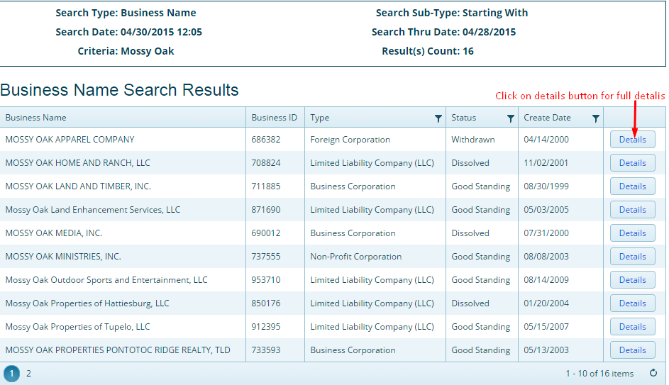 Mississippi Business Entity Search list