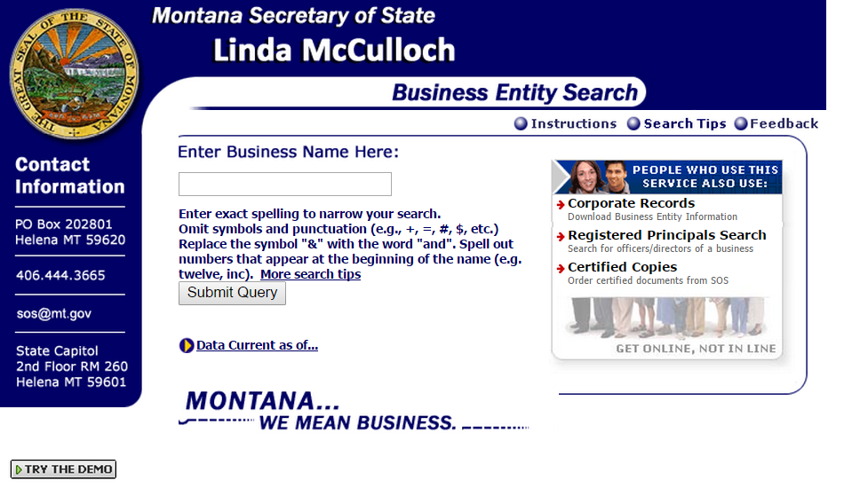 Montana Business Entity Search