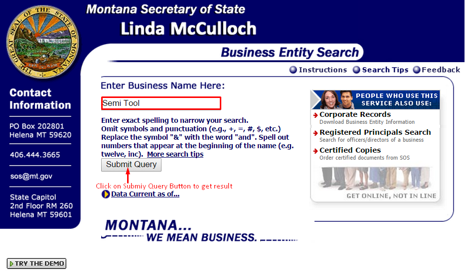 Montana Corporation Entity Search