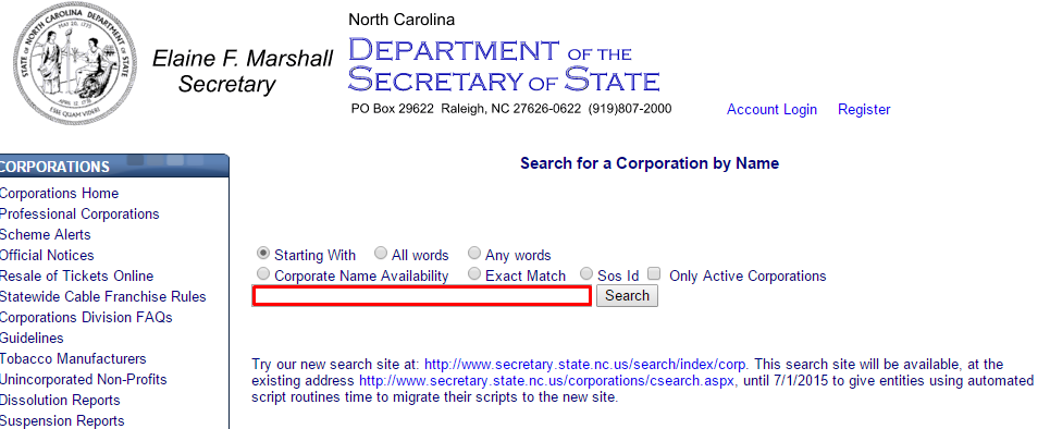 North Carolina Business Entity Search