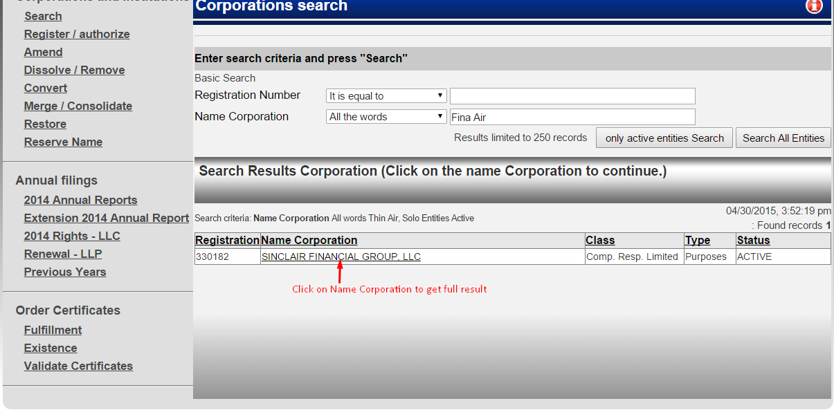Puerto Rico Corporation Entity Search Details