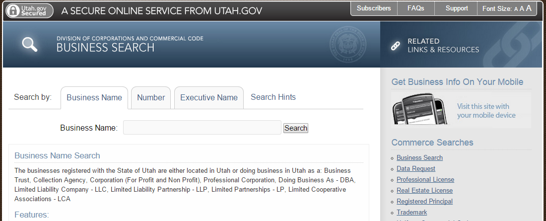Utah Business Entity Search