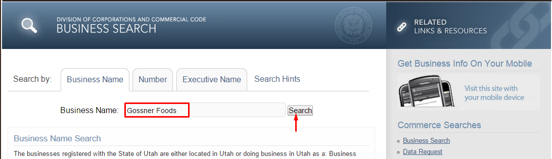 Utah Corporation Entity Search