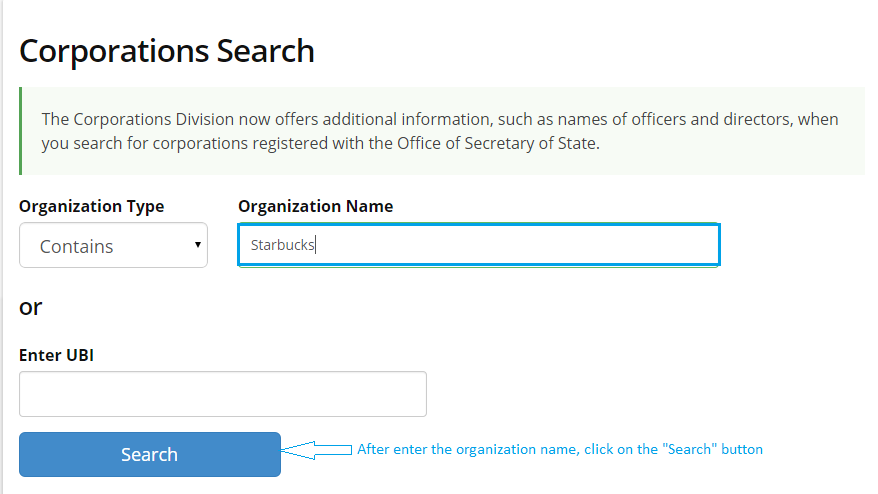 Washington-Corporation-Entity-Search