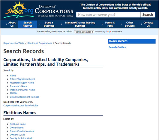 Florida Business and Corporation Search
