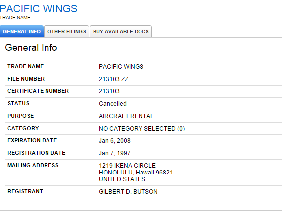 Hawaii SOS Result Page For Pacific Wings