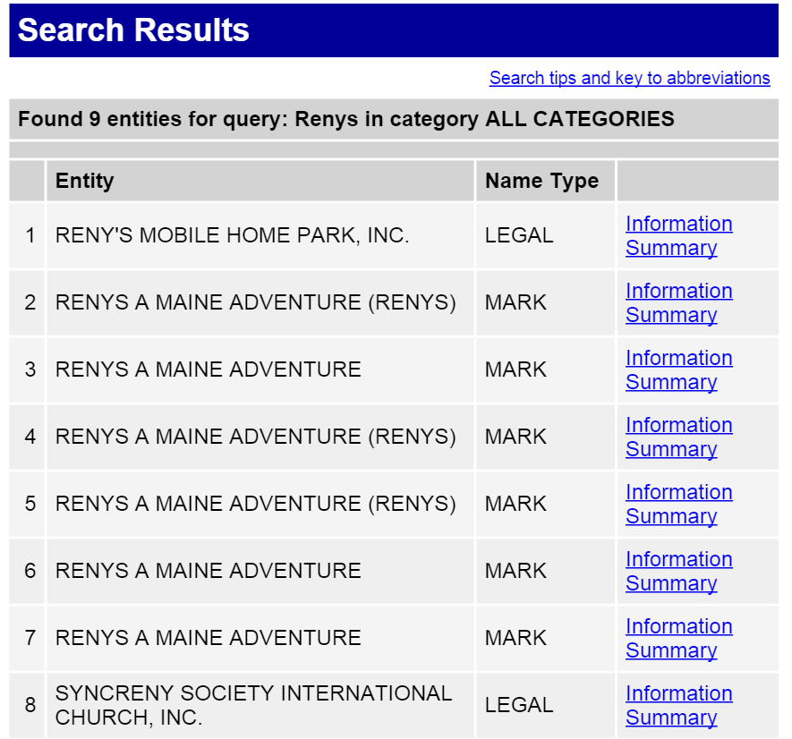 Maine Corporation Search Results