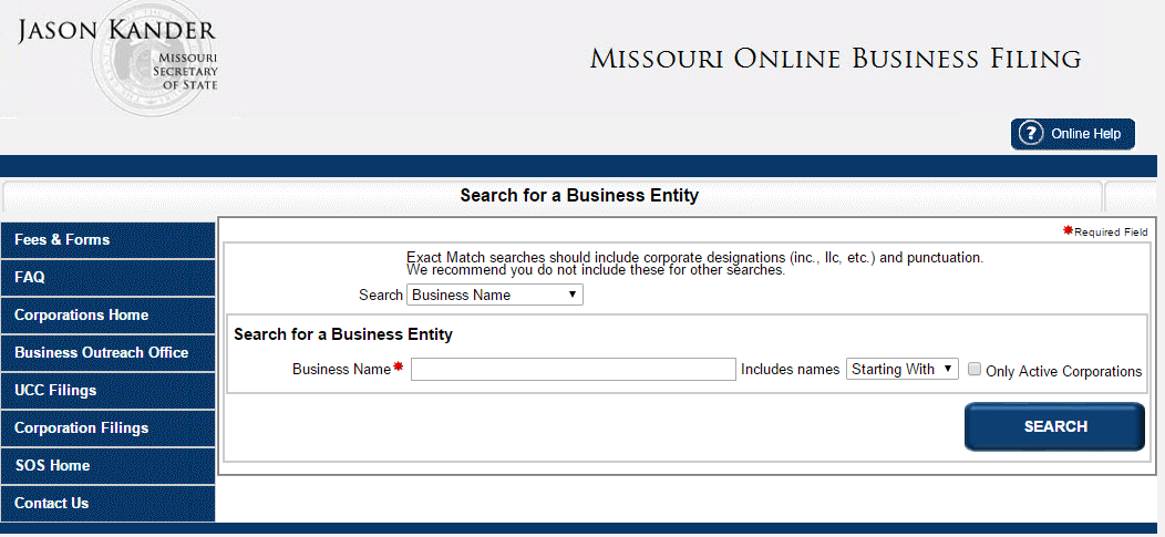 Missouri Business Entity Search