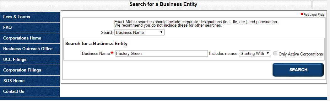 Missouri Business Name Search