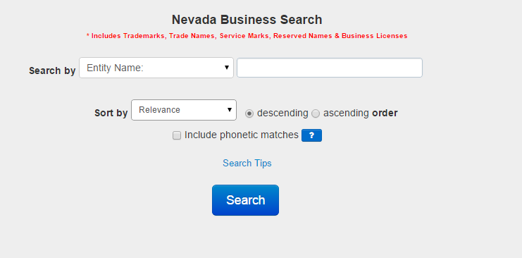 Nevada-Business-Entity-Search