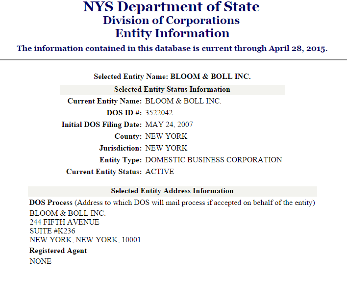 New York Corporate Entity Result Page