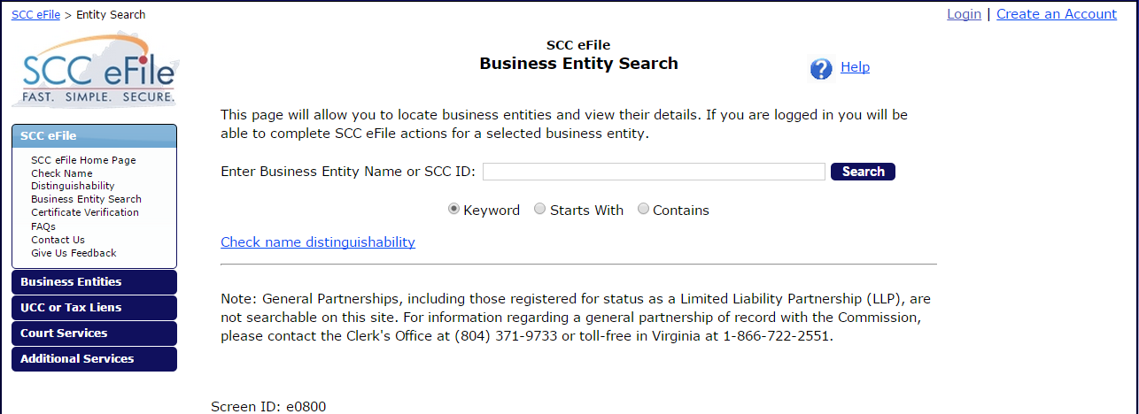 Virginia Business Entity Search