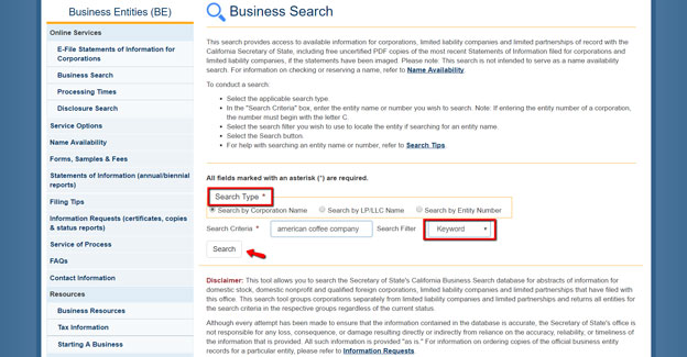 California SOS Business Entity Search Instructions