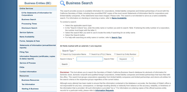 How to do a California Business Entity Search