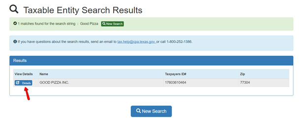 Texas SOS Corporation LLC Search Results