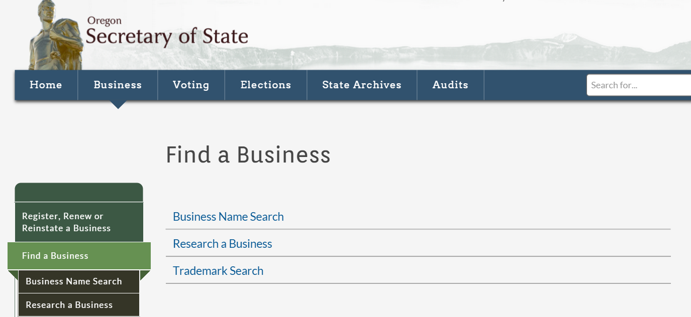 How to do an Oregon Business Entity Search
