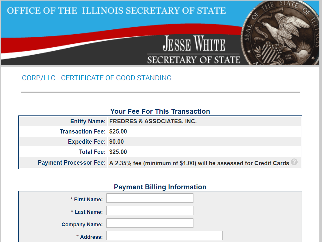 get a certificate of good standing in illinois