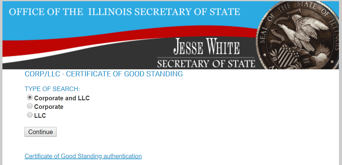 illinois certificate of good standing