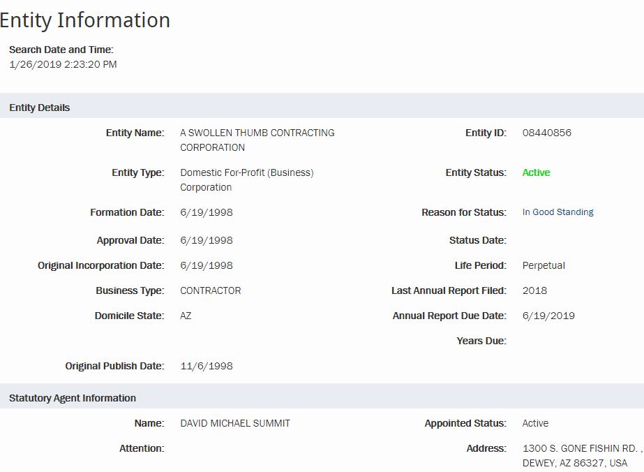 Arizona Corporation Details