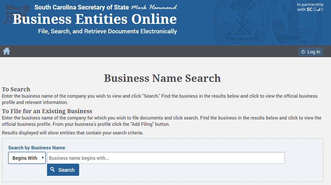 How to do a South Carolina Business Name Search