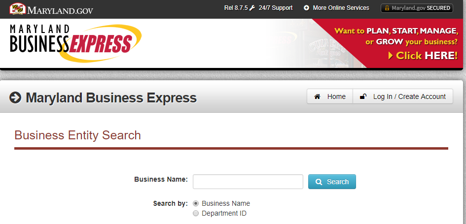 How to do a Maryland Business Entity search