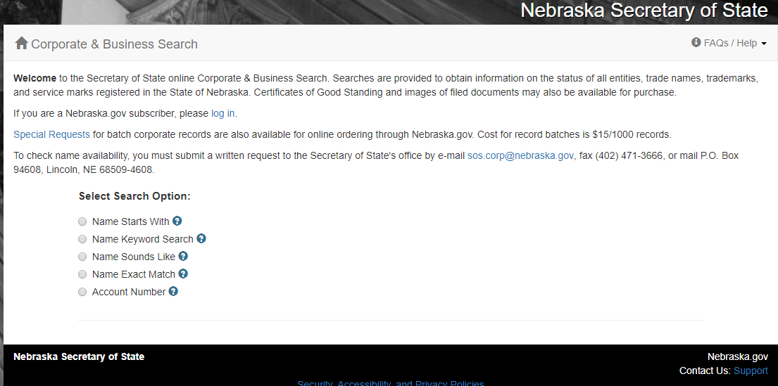 How to do a Nebraska Business Entity Search