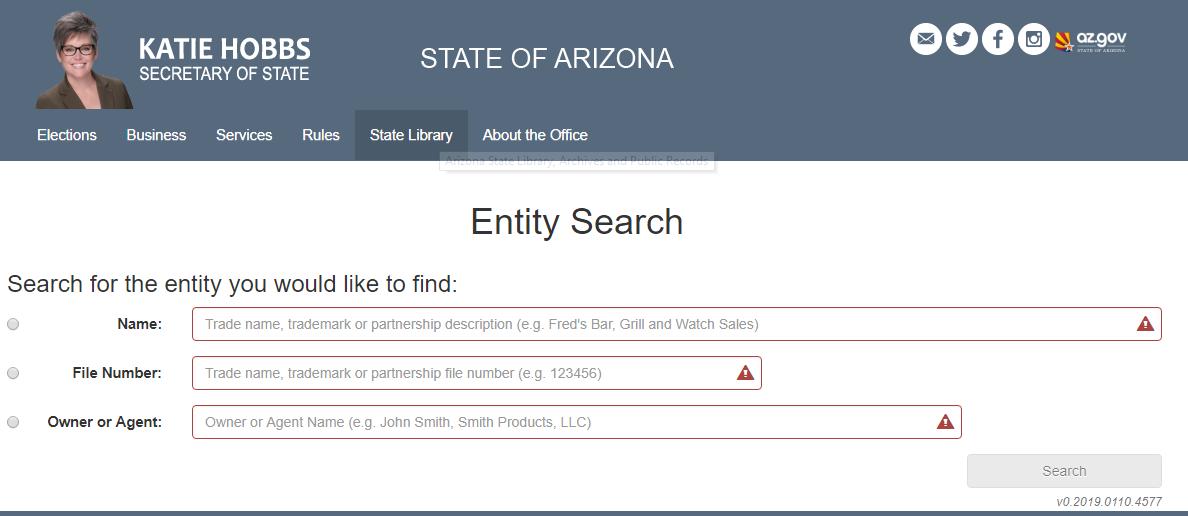 Arizona Business Entity Search