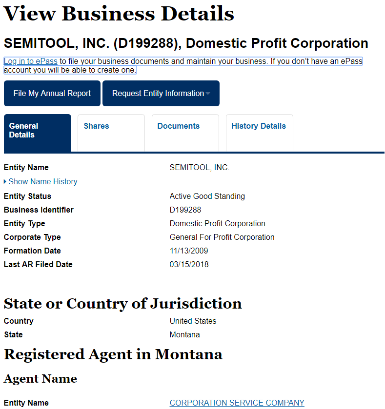 Montana Business Entity Search Details