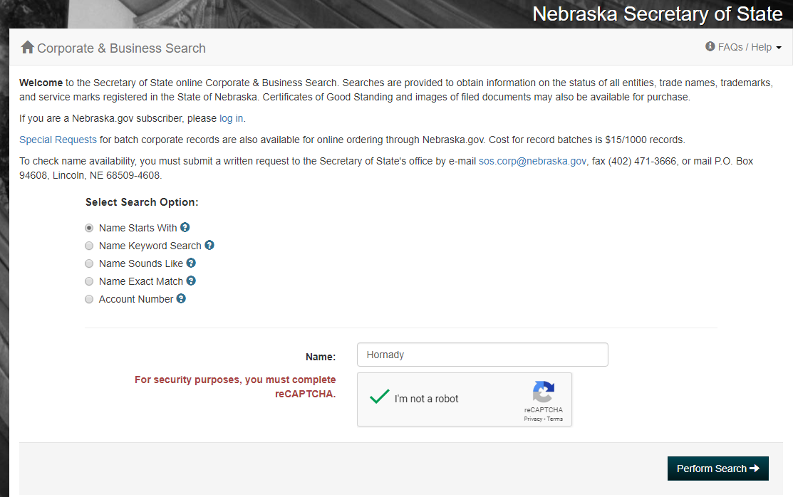 Nebraska Corporation Entity Search
