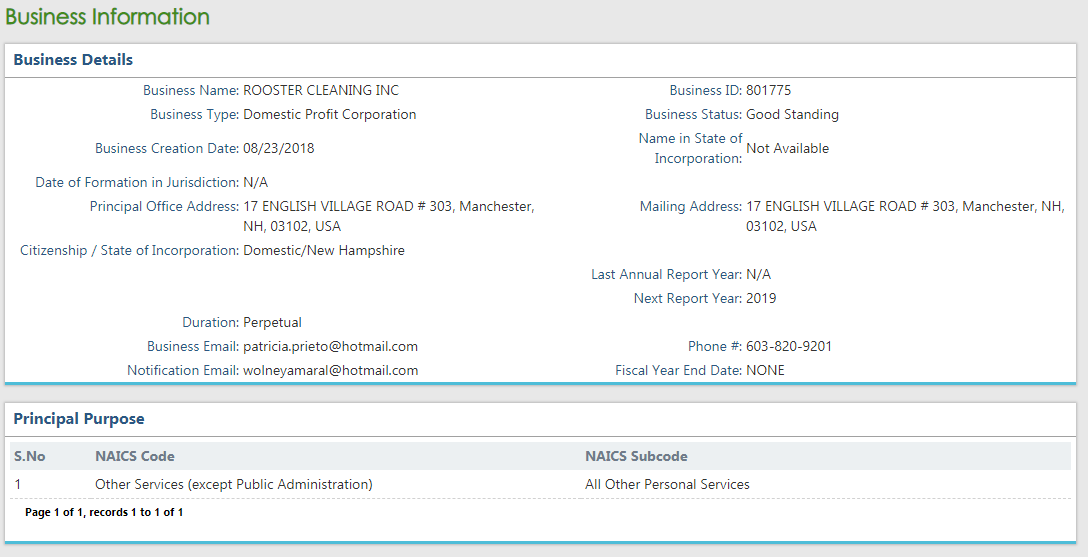 New Hampshire Corporation Entity Search Results