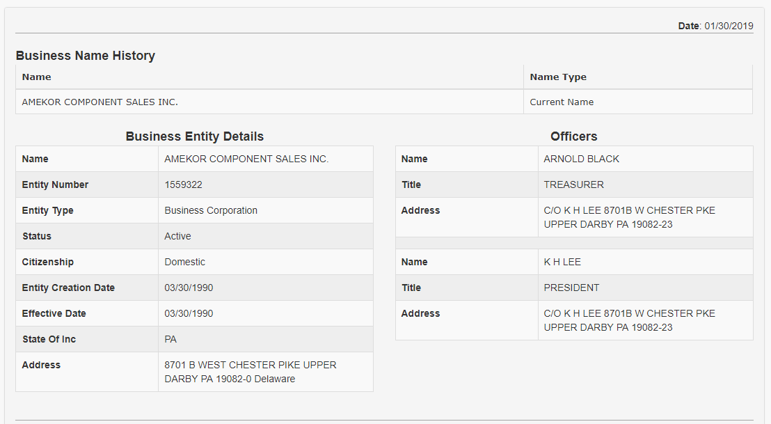 Pennsylvania Corporation Search Details