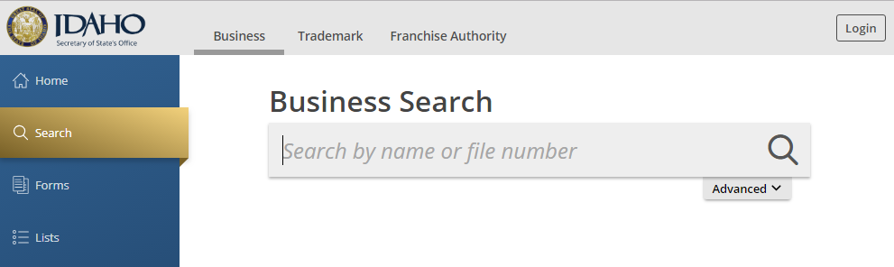 Idaho Business Entity Search