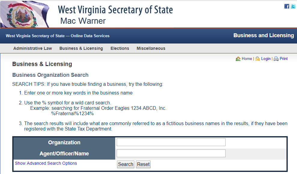 How to do a West Virginia Business Entity Search